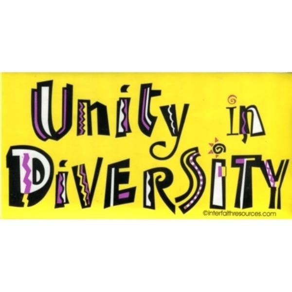 Unity in Diversity removable Bumper Sticker