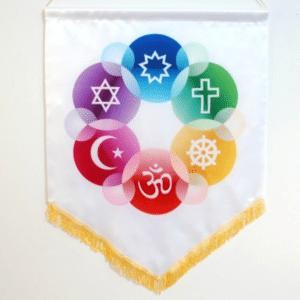 Interfaith Chapel Flag in White Satin