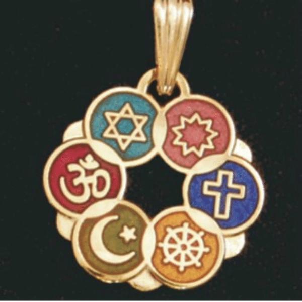 Smaller Gold Plated Cloisonne Interfaith Pendant