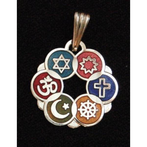 Large Silver Plated Cloisonne Interfaith Pendant