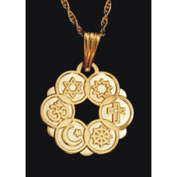 Smaller Gold Plated Interfaith Pendant