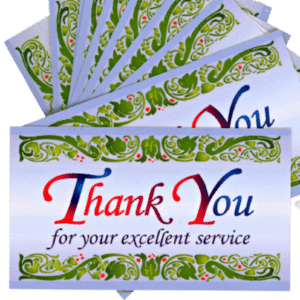 Thank You for your Excellent Service Cards