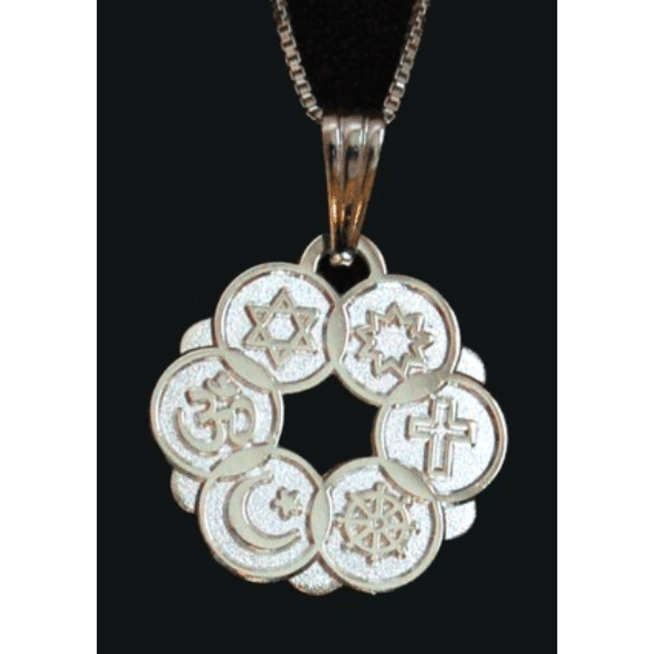 Large Silver Plated Interfaith Pendant