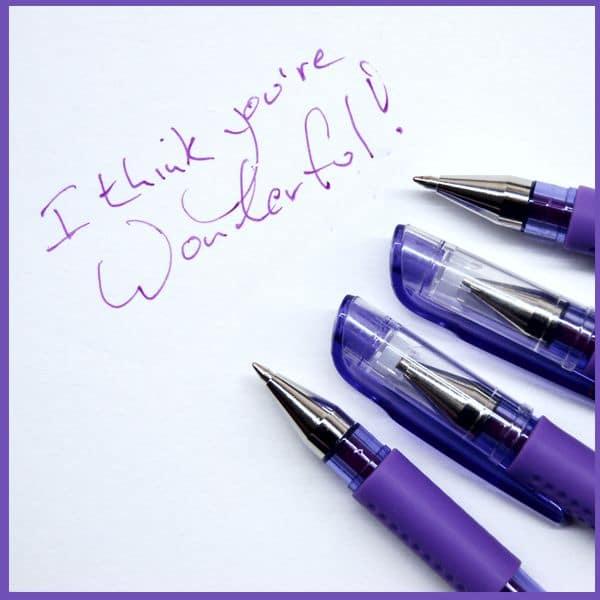 I Think You're Wonderful! Purple Gel Pen