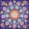 Square Indigo 9-Pointed Star Silk Satin Scarf
